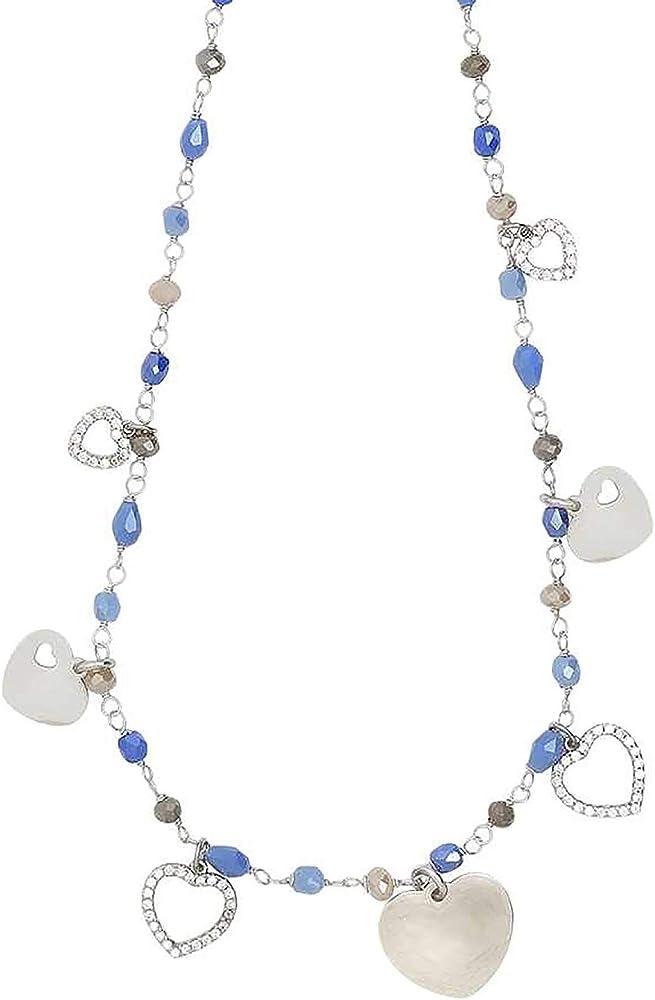 Boccadamo, collana per donna,in acciaio rodiato,cristalli multicolor e charms ispirati al tema dell`amore XGR515
