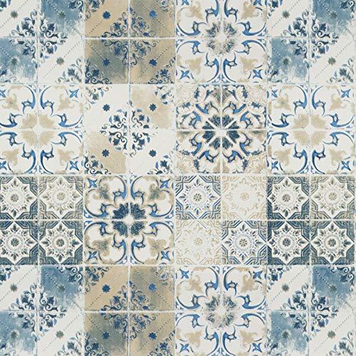 Blau Muster Fliesenaufkleber Mosaik Tapete 45X300cm Selbstklebend Möbelfolie Mosaik Möbelaufkleber Wasserdicht Mosaik Oberflächenschutz für Wand Küchen Regal Schrank Möbel Tisch Dekor Vinyl
