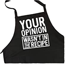 BBQ Grill Apron - Your Opinion Wasn't in the Recipe - Funny Apron For Dad - 1 Size Fits All Chef Apron Poly/Cotton 4 Utility Pockets, Adjustable Neck and Extra Long Waist Ties