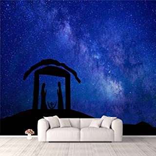Modern 3D PVC Design Removable Wallpaper for Bedroom Living Room Holy Night silhouette Wallpaper Stick and Peel Wall Stick...