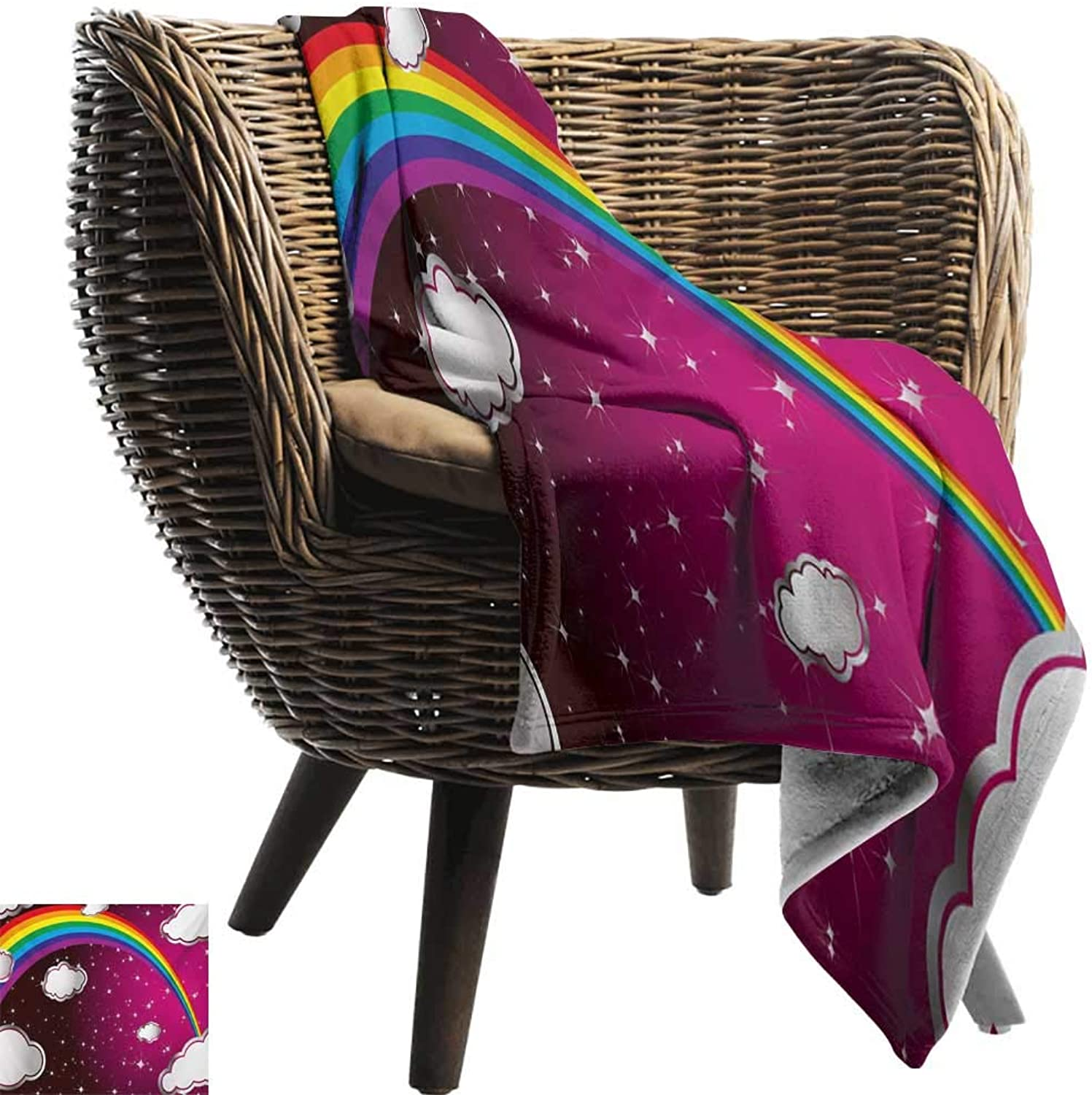 ZSUO Sofa Blanket 50 x60  Inch Cartoon,Rainbow Image with colors Star Like Details for Kids Nursery Room Artwork,Maroon and White Reversible Soft Fabric for Couch Sofa Easy Care