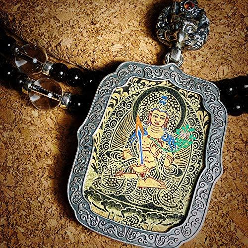 QWX 925 Collar de Buda de Plata de Ley, Colgante Cuddha, Collar Personalizado, Conjunto con Turquesa y rubí del Sur, Adecuado para oraciones y Regalo,16