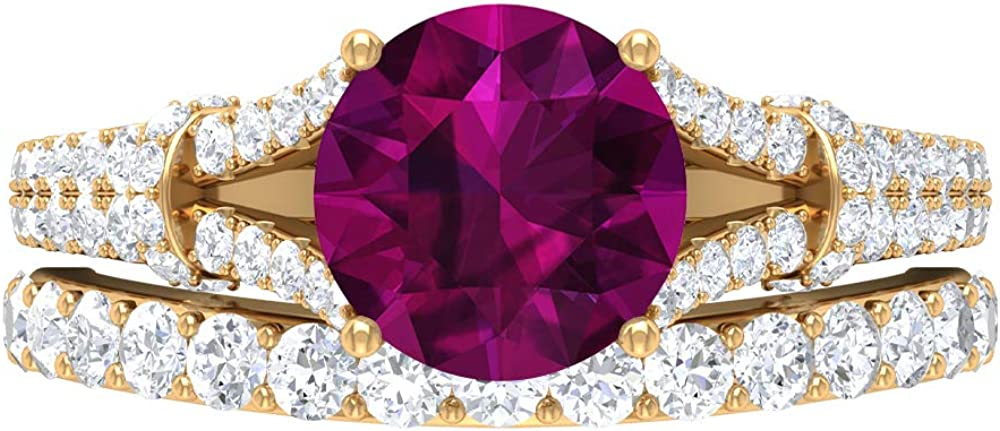 3.01 CT Rhodolite Shipping included Ring D-VSSI MM Set Max 51% OFF 8 Bridal Moissanite