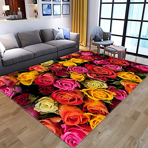 Teppich Wohnzimmer,On Slip Area Rug For Living Dining Room,Modern 3D Printed,Multicolor Rose,Soft Cozy Carpet For Bedroom Kitchen,Topical Flower Nursery Rug Floor Carpet Yoga Mat,91×152Cm|2.98×4.98F