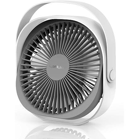 Lahuko Ventilateur USB, 220mm Ventilateur de Table, Ventilateur Rechargeable Silencieux Portable 360 ° Réglable 3 Modes Ventilateur de Bureaux avec Poignée pour Bureau Chambre Voyage