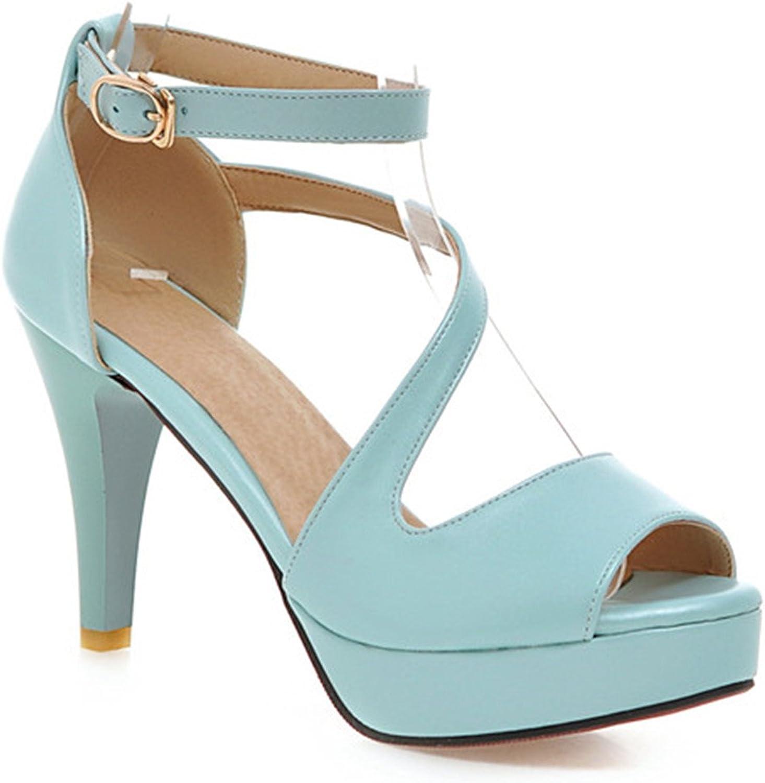 Karl Conner Women High Heels Sandals Open Toe Platform Ladies shoes Beige White Size 9 43 Sky bluee 6
