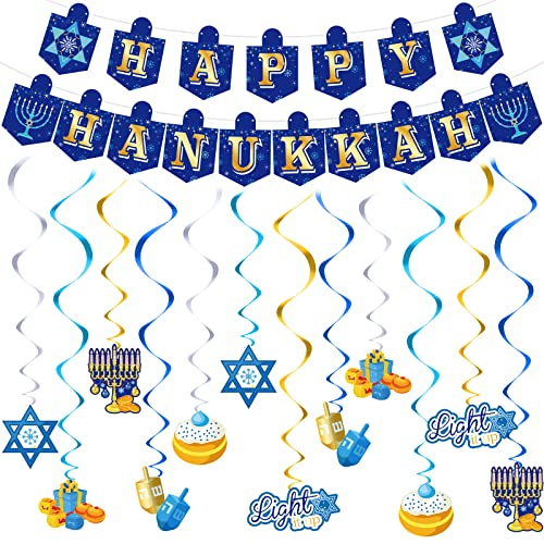 Happy Hanukkah Banner Chanukah Decorations and 12 Pieces Hanukkah Hanging Swirl Decorations Ceiling Streamers Spirals Porch Hanging Blue Welcome Sign for Home Yard Holiday Party Outdoor Supplies