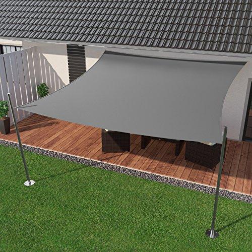 IBIZSAIL Sonnensegel wasserabweisend Sonnenschutz für Garten Balkon aus PES rechtwinklig-300 x 300 cm-Grau(inkl. Spannseilen)