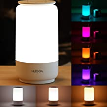 HUGOAI LED Table Lamp, Bedside Lamp, Night Light for Bedrooms with Dimmable Whites, Vibrant RGB Colors and Memory Function, No Flicker - White