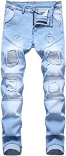 AIYINO Mens Ripped Slim Straight Fit Stretch Biker Jeans Stylish Denim All Waist