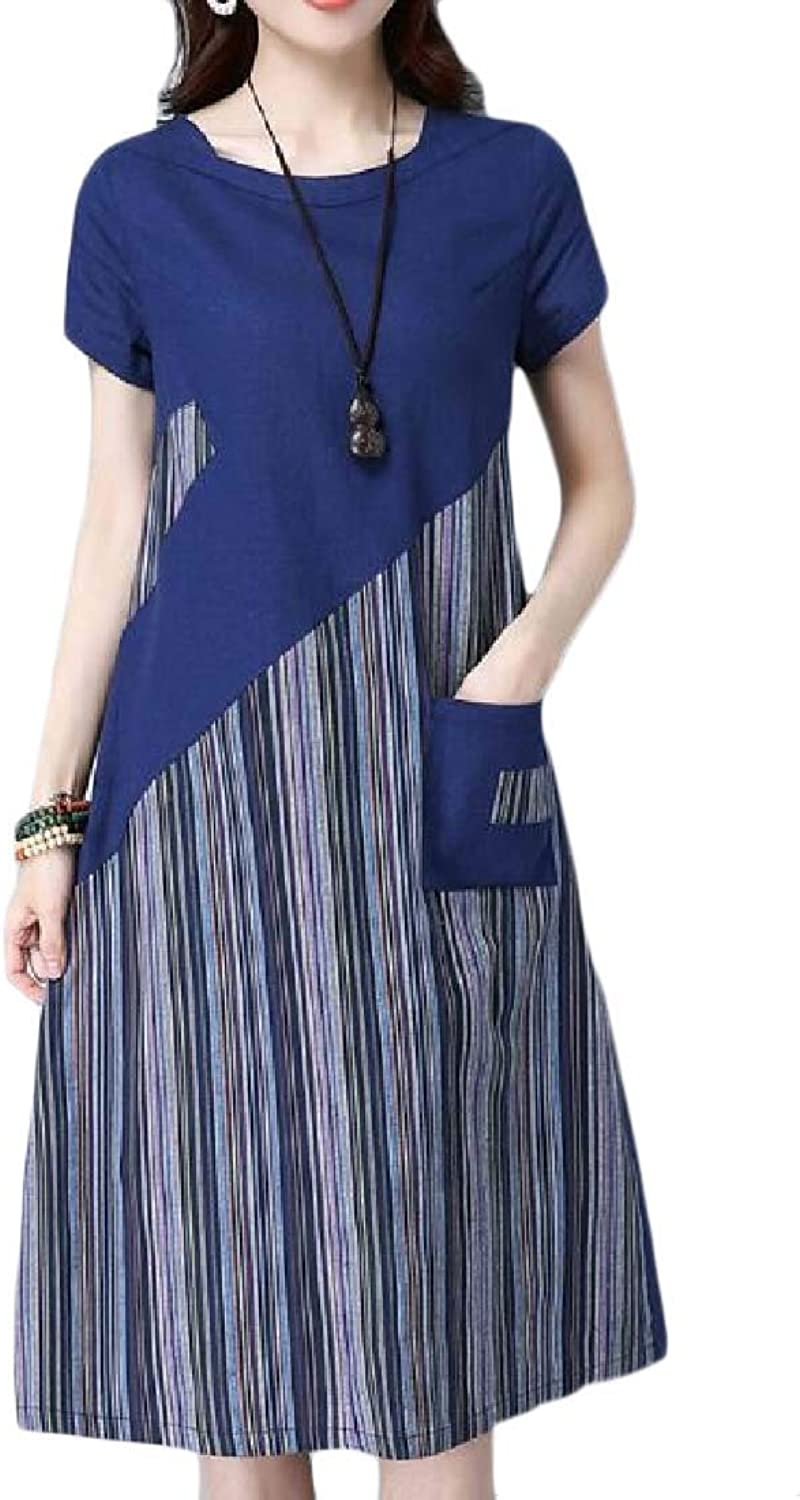 SweatwaterCA Women Printed Short Sleeve Casual Linen ONeck Swing Dress with Pocket