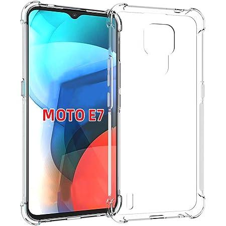 USTIYA Funda para Moto E7 Case Motorola E7 Carcasa Bumper,Shock-Absorción TPU Transparente con Cuatro Esquinas Espesamiento