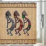 DYNH Southwestern Duschvorhang, Indianer Kokopelli Ethno Tribal Duschvorhang Badezimmer Zubehör-Set, Vintage Retro Musik Landwirtschaft Antike Duschvorhang-Set mit Haken inklusive, 177,8 cm