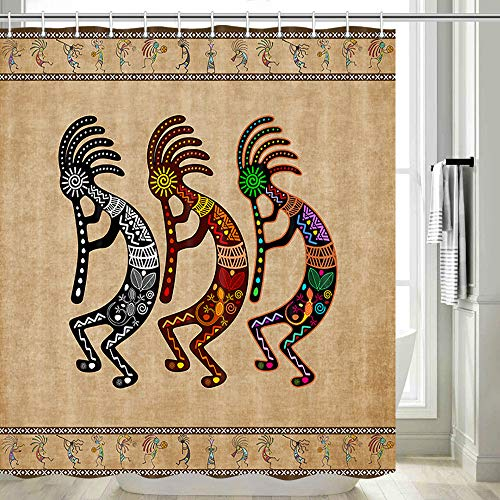 DYNH Southwestern Shower Curtain, Native American Kokopelli Ethnic Tribal Shower Curtain Bathroom Accessory Set, Vintage Retro Music Agriculture Ancient Shower Curtain Set with Hooks Included, 70 in