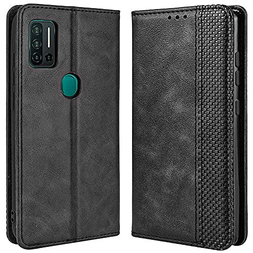 DOINK Retro Klapp Hülle für Ulefone Note 11P, Premium PU Leder Handyhülle mit Kartenfächer & Geldbeutel - Schwarz