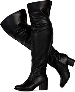 45c96fc12788 RF ROOM OF FASHION Women's Wide Calf Over The Knee Block Chunky Heel  Stretch Boots