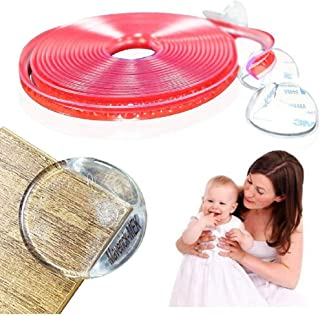 Transparent Corner Guards, Baby Corner Protection Soft Silicone Bumper Strip,20 FT, Double-Sided Tape For Furniture Agains...