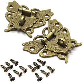 RAYNAG Set of 2 Butterfly Latch Hasp & Screws, Small Wooden Jewelry Boxes Suitcase Cabinet Lock Latches, Bronze, Antique Look