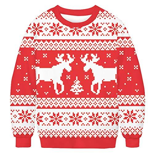 Sykooria Weihnachtspullover 3D Damen Herren Ugly Christmas Pullover Hässliche Xmas Weihnachts Sweater