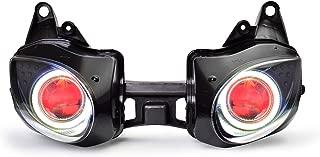KT LED Angel Eye Headlight Assembly for Kawasaki Ninja ZX-6R 2007-2008 Red Demon Eye