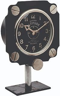 Asher Amada Altimeter Mantel or Shelf Clock on Black Iron Base