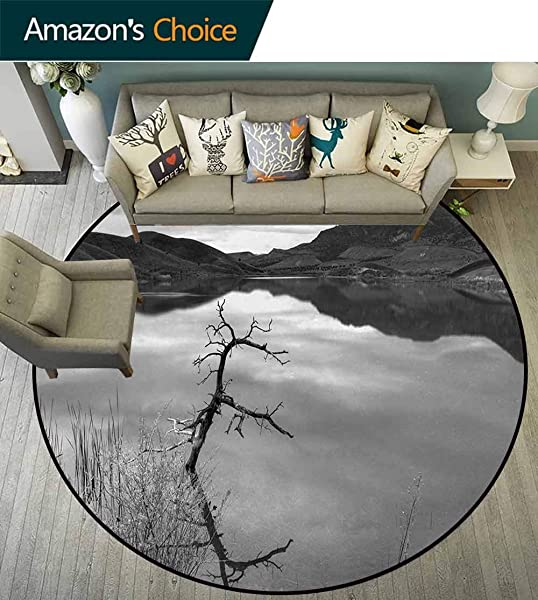 Black And White Round Kids Rugs Scenic Tranquil Landscape With Lake Nature View Monochrome Photo Learning Carpet Non Skid Nursery Kids Area Rug For Playroom Diameter 59 Inch Black White Grey