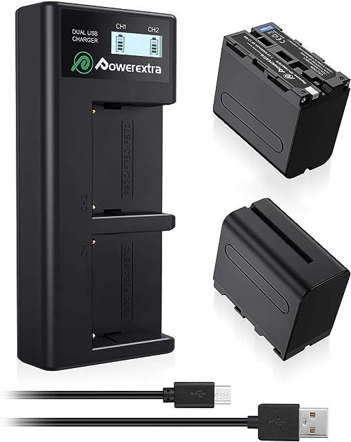 Powerextra Sony NP-F970 NP-F960 NP-F930 NP-F950 Sony Cámara 2 Baterías con Cargador 8800mAh Sony DCR-VX2100 DSR-PD150 DSR-PD170 FDR-AX1 HDR-AX2000 HDR-FX1 HDR-FX7 HDR-FX1000 HVL-LBPB HVR-HD1000U