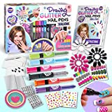 Kids Nail Art Polish Drawing Pens Kit, FunKidz Ultimate 280Pcs Nails Glitter Set For Girls Glow In Dark Sparkly and Colorful Temporary Nail Polish Kit for Kids Salon Girls Fashion Activity For Gift and Parties Present