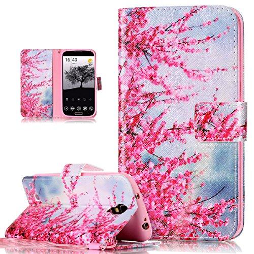 ikasus Coque Galaxy S4 Etui Peintures colorées peint motif Etui Housse Cuir PU Portefeuille Wallet Coque Housse Etui supporter Flip Case Etui Housse Coque pour Galaxy S4,Fleurs de cerisier rose