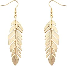 purple and gold feather earrings