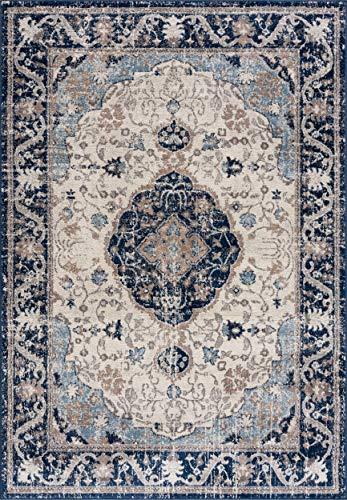 THE RUGS Moderner Teppich für Wohnzimmer, Kurzflor, weich, klein, groß, Bordüre, traditionelles Design, Marineblau (120 x 170 cm)