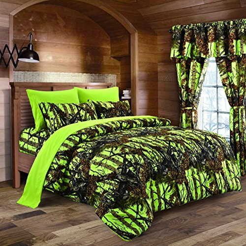- Spring Cleaning Sale - Lime Camouflage King Size 8pc Comforter, Sheet, Pillowcases, and Bed Skirt Set - Camo Bedding Sheet Set for Hunters Teens Boys and Girls