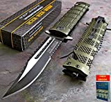 Pocket Knife Folding Tactical Rescue Knife Spring Assisted Open TAC FORCE GREEN Sawback Bowie TF-710GN + free eBook by Only US