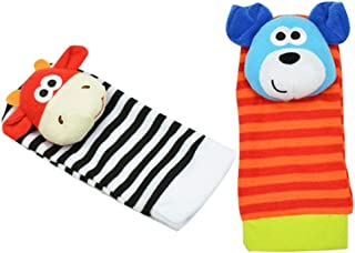 Mine Tom, Minetom Par Calcetines Peluche Sonajero Color Naranja Juguete para Bebés Infantil Calcetines C Una Talla