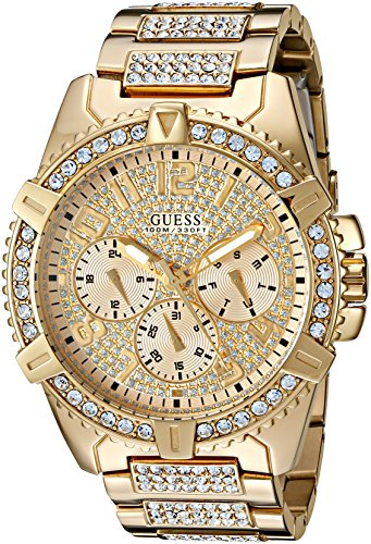 GUESS Stainless Steel Gold-Tone Crystal Embellished Bracelet Watch with Day, Date + 24 Hour Military/Int'l Time. Color: Gold-Tone (Model: U0799G2)