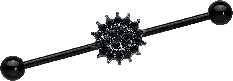 Body Candy Womens 14G Black PVD Steel Helix Cartilage Earring Black Goth Sunburst Industrial Barbell 1 1/2