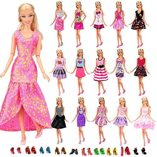 Miunana 22 Pezzi = 12 PCS Abiti Vestiti alla Moda Fashion + 10 PCS Scarpe Selezionati A Caso per 28 - 30 CM / 11.5 Pollici Principessa Bambola