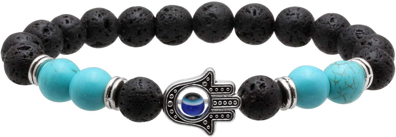 MILAKOO 8mm Evil Eye Bracelet Bangle for Men Women Lava Rock Essential Oil Diffuser Bracelet