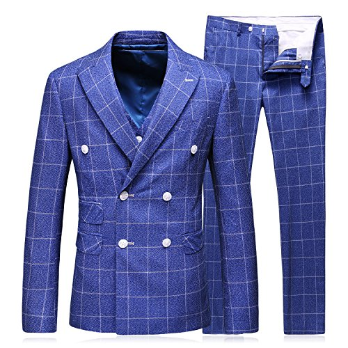 MOGU Mens Double Breasted Blazer stijlvolle 3-delige pak Plaid formele bruiloft zakelijke jurk