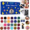 Glitter Tattoos Kit,Temporary Tattoo Set-24 Colors Glitter,135 Unique Stencil Body Nail Glitter Art Paint Birthday Party Gift for Girls Kids Teenager Adult