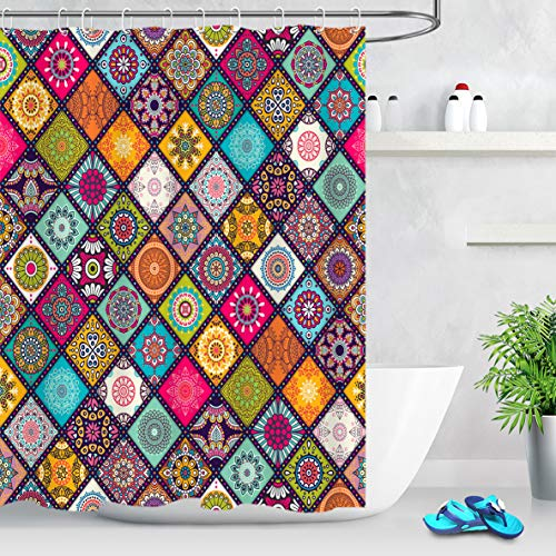 LB Hippie Bohemian Shower Curtains for Bathroom Colorful Tribal Paisley Pattern on Geometric Rhombus Colorful Mandala Bathroom Curtains 72x72 Inch Waterproof Fabric with 12 Hooks
