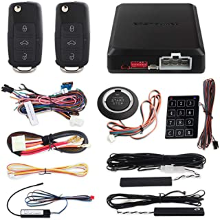 EASYGUARD EC002-V PKE Car Alarm System Remote Starter Push Button Password keypad Keyless Go System hopping code