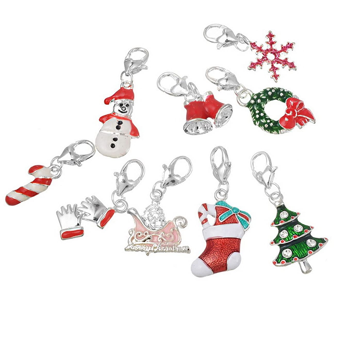 Souarts Mixed Christmas Charms Pendants for Necklace Making (20pcs clip on charms)