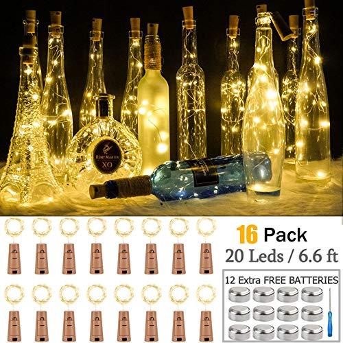 Wine Bottle Lights 16 Pack 20 LEDs Cork Lights for Wine Bottles Battery (Included) Powered Fairy Mini String Lights for DIY Indoor Bedroom Party Wedding Christmas Halloween Decor (Warm White)