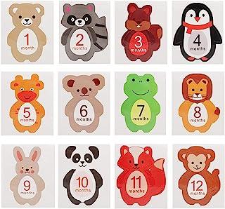 12 Stks Baby Maandelijkse Sticker Cartoon Diervormige mijlpaal herinneringen Photo Props voor 1-12 Maand Pasgeboren Jongen...