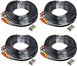 ABLEGRID 4 Pack 100ft bnc Video Power Cable Security Camera Cable Wire Cord for CCTV dvr Surveillance System (Included 2X BNC to RCA connectors with Each Cable)