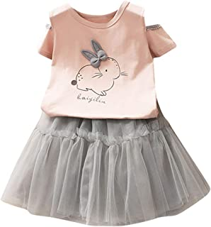 Distinguished Elegant Baby Girls Dresses Outfit Rabbit Print T Shirt Tops Tutu Skirt 1-6 Years Princess Party Clothes Cost...