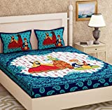 (BEAUME 100% Cotton 3POPET Queen Size Double Bed BEDSHEET (90 * 100 INCH) with Two Pillow Covers 18 * 26 INCH) (Blue)