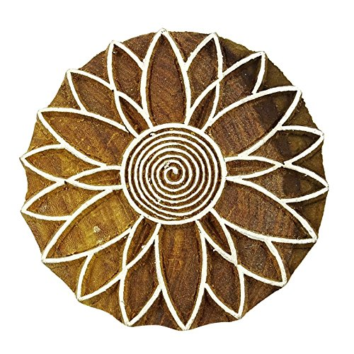 Indian Hand Geschnitzte Blume Design Holzdruckstock Textil Stempel