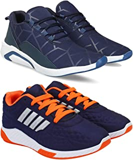 Bersache Men's Multicolor Running Shoes-9 UK (Combo-1244-1079-9)